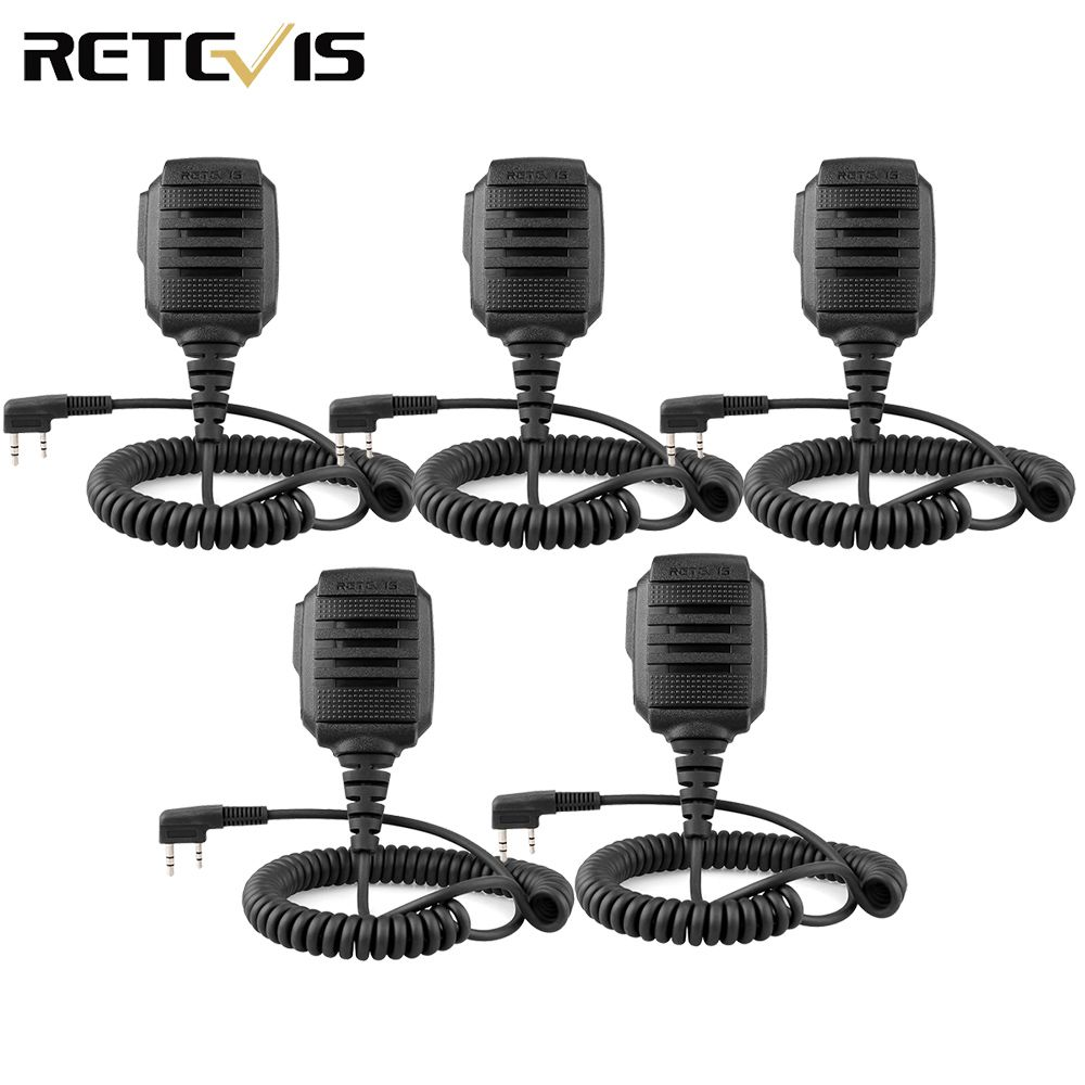 5pcs IP54 Speaker Microphone 2 PIN for Kenwood Retevis H777 RT22 RT24 RT3S RT3 RT80 Ham Radio Walkie Talkie C9060A
