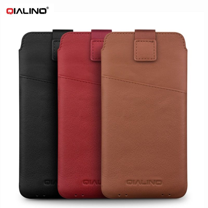 QIALINO for iPhone 6s 6 7 Plus Bag Case Genuine Leather Sleeve Pouch with Card Slot for Apple i6 i6s i7 Smartphone Cover Shell
