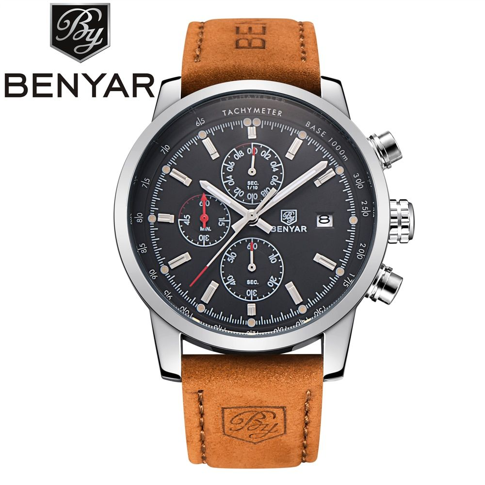 BENYAR Quartz Watch Men Sport Mens Watches Top Brand Luxury Military Quartz Watch Chronograph Waterproof Clock Relogio Masculino