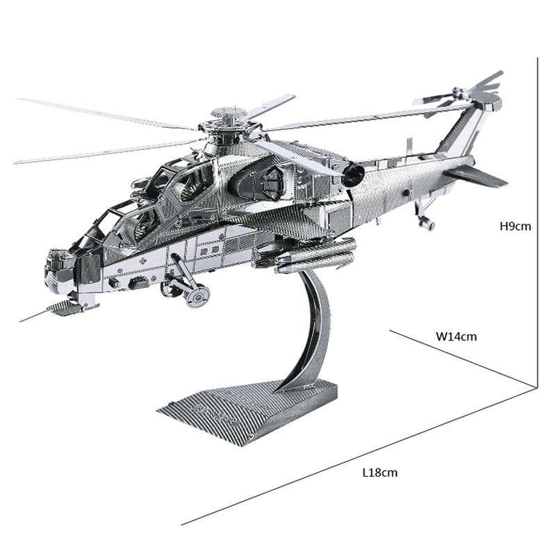 WUZHI-10 modèle hélicoptère 3D découpe laser puzzle bricolage métal modèle Nano Puzzle enfants Puzzles éducatifs jouets pour enfants