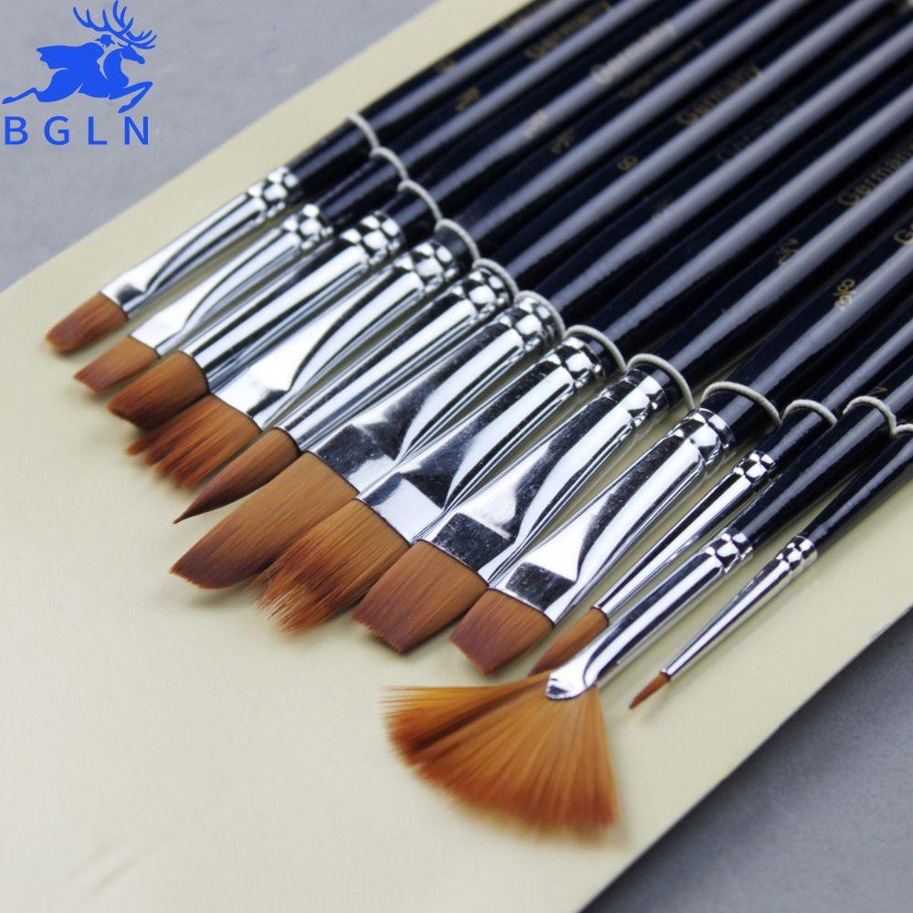 12Pcs Variety Style Paint Brushes Set Short Handle Nylon Hair Painting Brush Oil Acrylic Brush Watercolor Pen Art Supplies