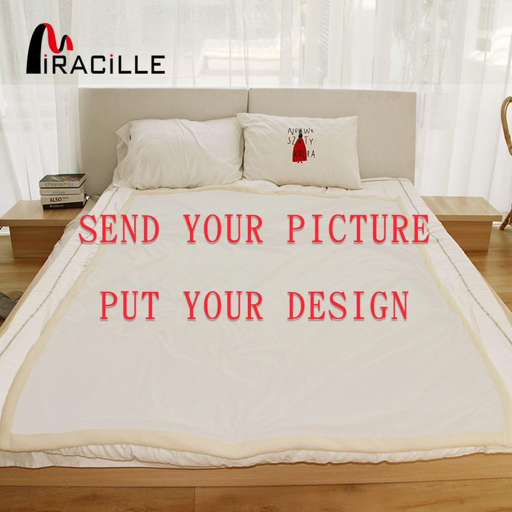 Miracille personnalisé jeter couverture en peluche couvertures personnalisées imprimer sur demande Sherpa polaire couverture pour lits POD livraison directe