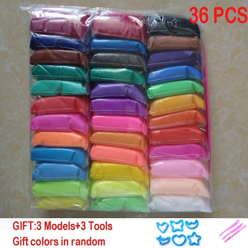 36pcs/set Slime DIY safe and nontoxic Malleable Fimo Polymer Clay playdough Air Clay Polymer Plasticine Modelling light Clay