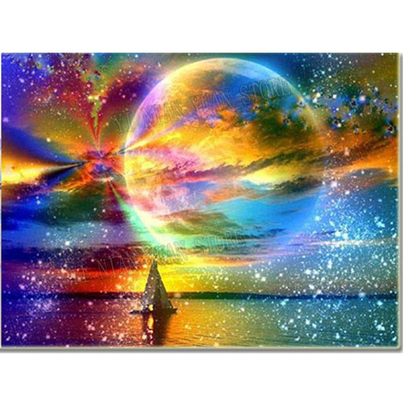 landscape Diamond Embroidery Moonlight & Color Starry Sky 5d Diy Diamond Painting Full Drill Resin Mosaic Handmade Pasted Decor