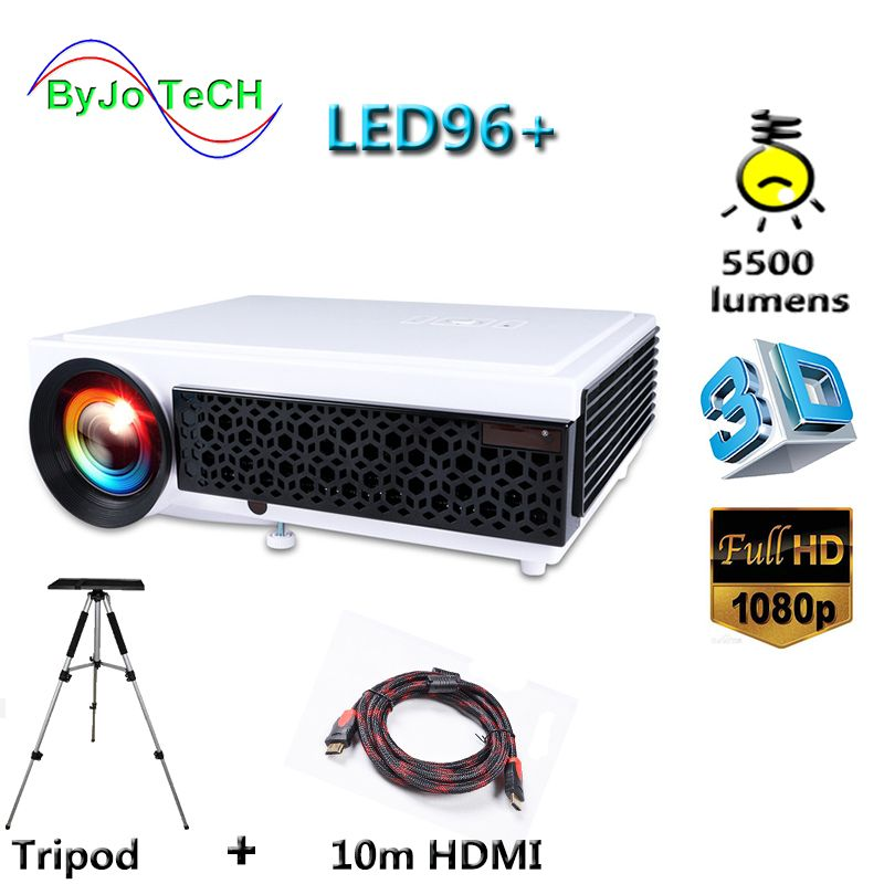 Poner Saund LED96+ LED Projector 5500 Lumen Full HD projector 1080P With 10m HDMI Tripod 3D Proyector LCD Vs led96 bt96 m5