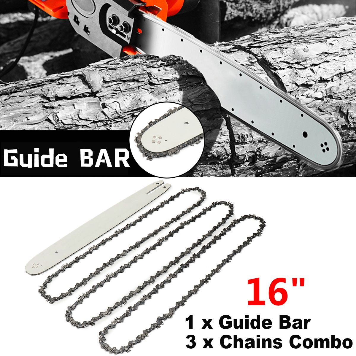 16 Inch Chain Saw Guide Bar with 3pcs Chains for STIHL 009 012 021 E180 MS180 MS190