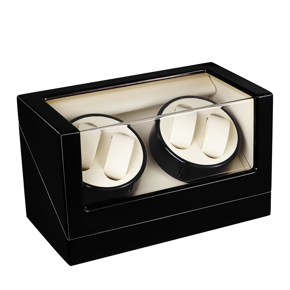 Watch Winder ,LT Wooden Automatic Rotation 4+0 Watch Winder Storage Case Display Box (Outside is black and inside is black)