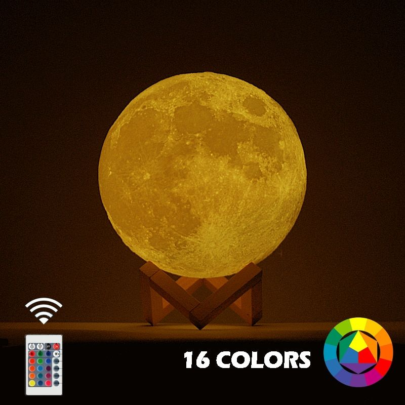 New Dropship 3D Print Moon Lamp Colorful Change Touch Usb Led Night Light Home Decor Creative Gift