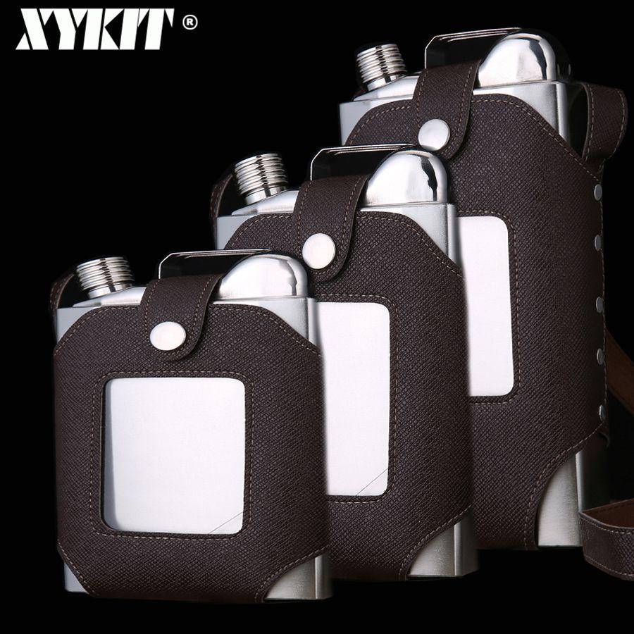 XYKIT grande capacité 18 26 35 OZ flacons à whisky en acier inoxydable marron Transparent étui boucle hanche flacon hommes Portable