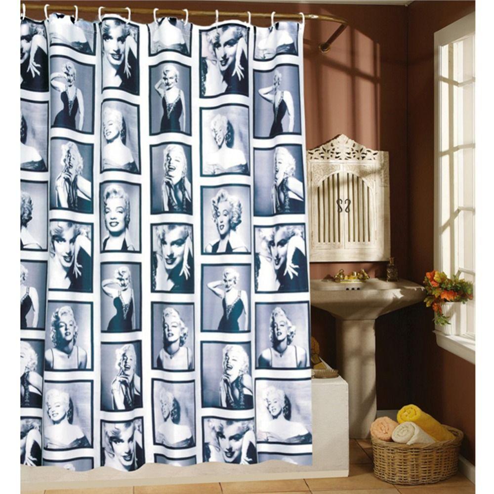 Étanche Polyester Rideaux De Douche Marilyn Monroe Motif Décoratif Salle De Bains Rideaux De Douche De Bain Écrans 180x180/200 CM