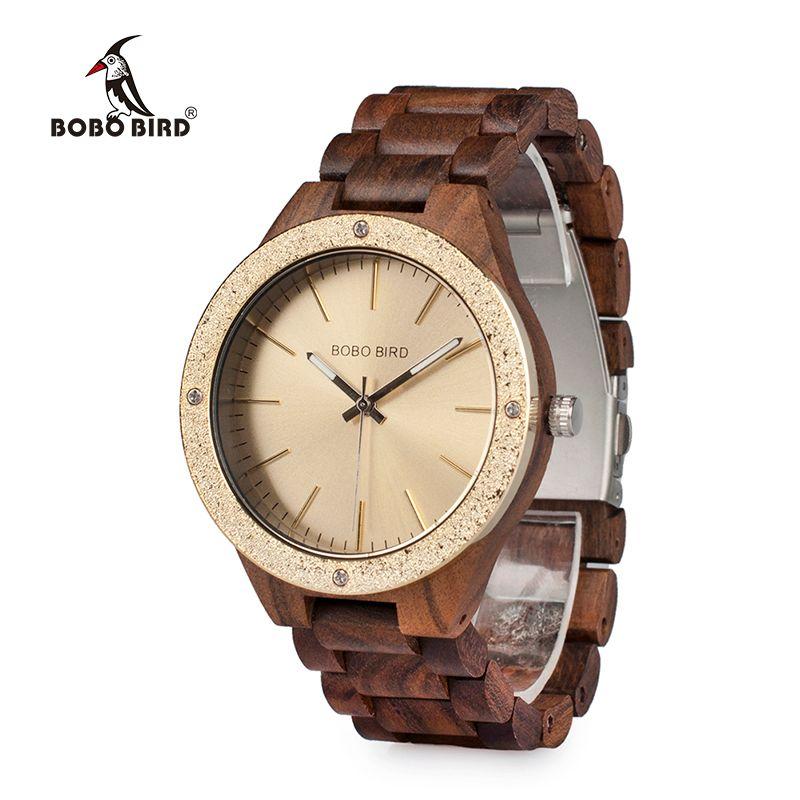 BOBO BIRD Wooden Men Watches erkek kol saati Quartz Handmade Unique Casual Wristwatches Gifts Timepieces Drop Shipping V-P05