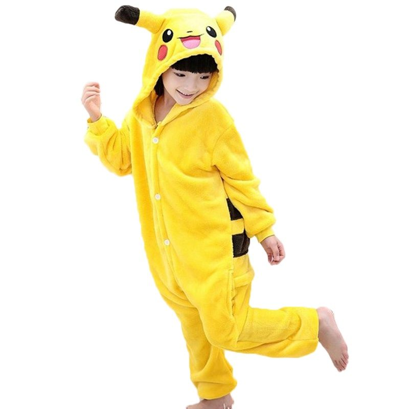 2017 г. новые зимние фланелевые пижамы для маленьких девочек пижамный комплект Пикачу стежка Косплей с капюшоном Рождество Pijama INFANTIL детская п...