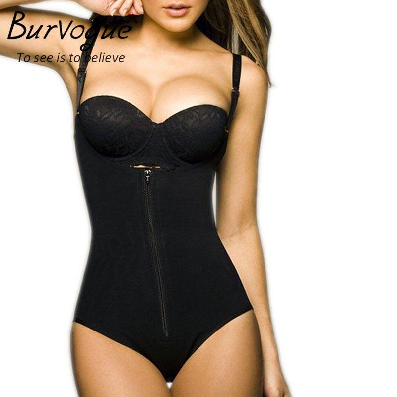 Burvogue <font><b>Clips</b></font> or Zip Full Body Shaper Women Waist Trainer Slimming Shapewear Butt Lifter Tummy Control Waist Shaper Underwear
