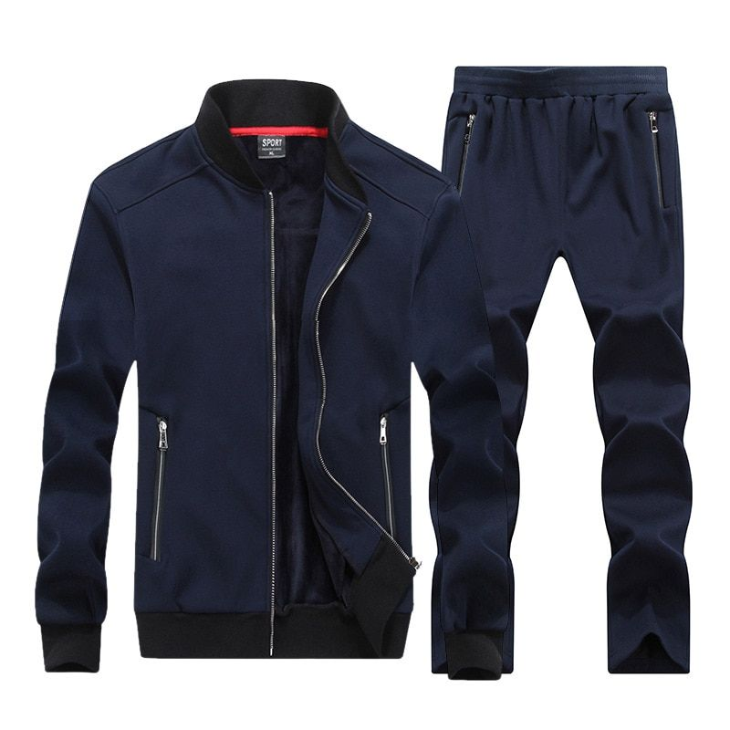 2018 New Autumn Winter Men Sporting Suit Hoodies Jacket+Pant Sweatsuit Two Piece Set Tracksuit Sportswear Thick For Men Clothing