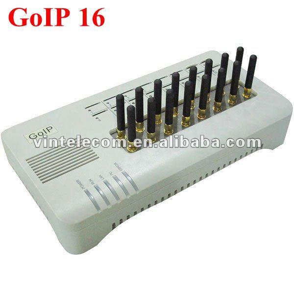 GOIP16 GSM VOIP gateway mit 16 kanäle GOIP unterstützung sim bank und groß SMS/(mit kurzen antennen) -spezielle preis bieten