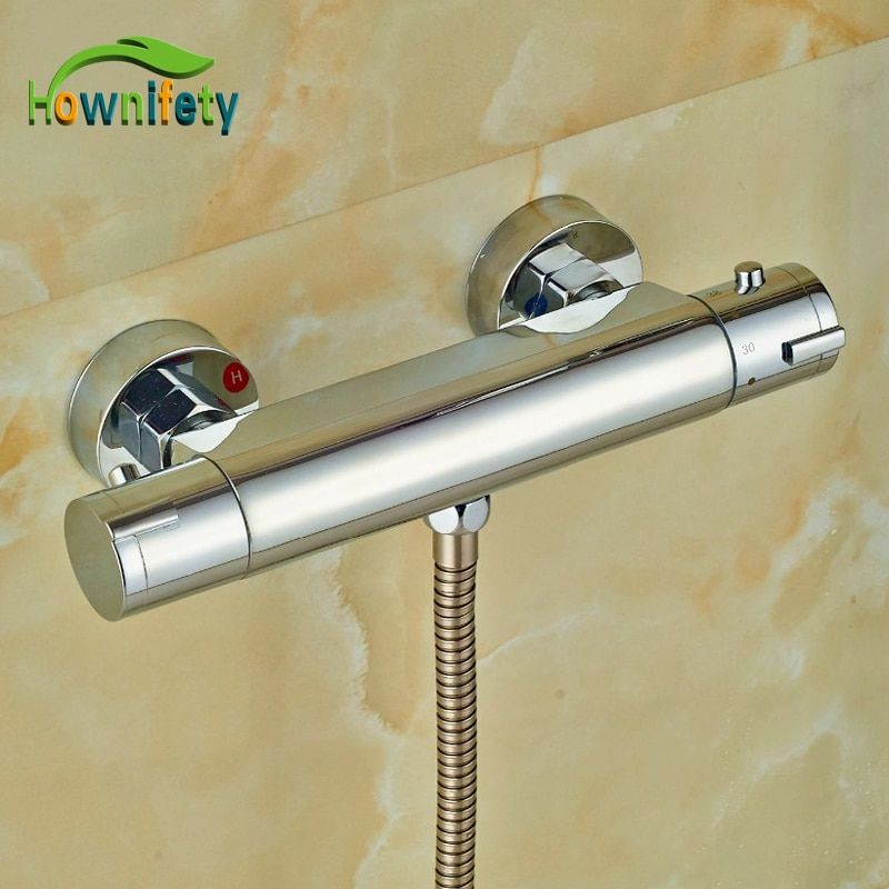 Chrome Polish Thermostatic Mixer Body Wall Mounted Brass Shower Fittings Shower Faucet Accessory
