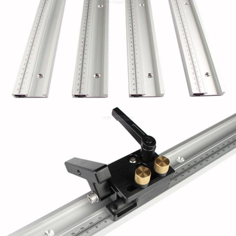 600/800mm Standard en Aluminium t-track 45mm de largeur avec outil de bricolage à bois à échelle métrique