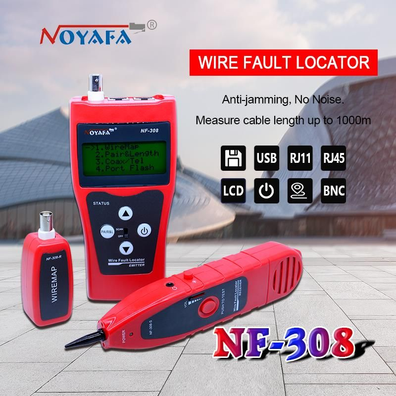 NF-308 Network monitoring cable tester LCD Wire Fault Locator LAN Network Coacial BNC USB RJ45 RJ11 red color NF_308