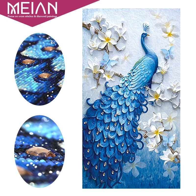 Meian,Special Shaped,Diamond Embroidery,Animal,Peacock,Full,Rhinestone,5D,DIY Diamond Painting,<font><b>Cross</b></font> Stitch,Diamond Mosaic,Decor