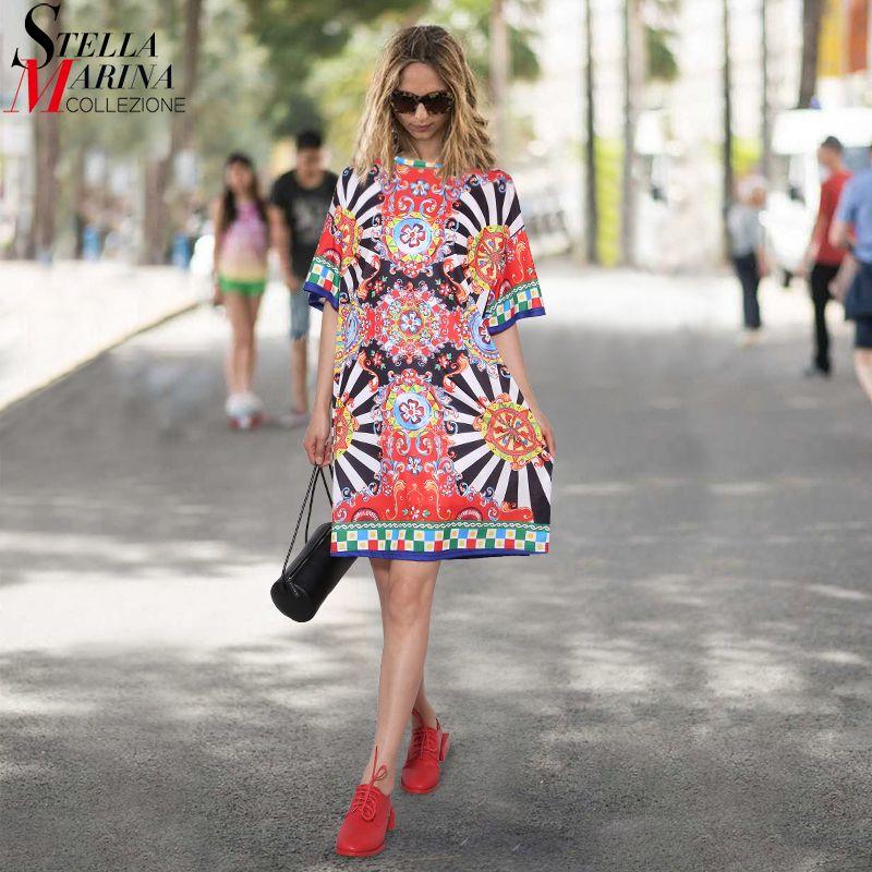 2019 D'été Femmes Noir Floral Imprimé robe de plage courtes manches Filles Mignon Droite Robe Midi robes d'été robe Style 2162