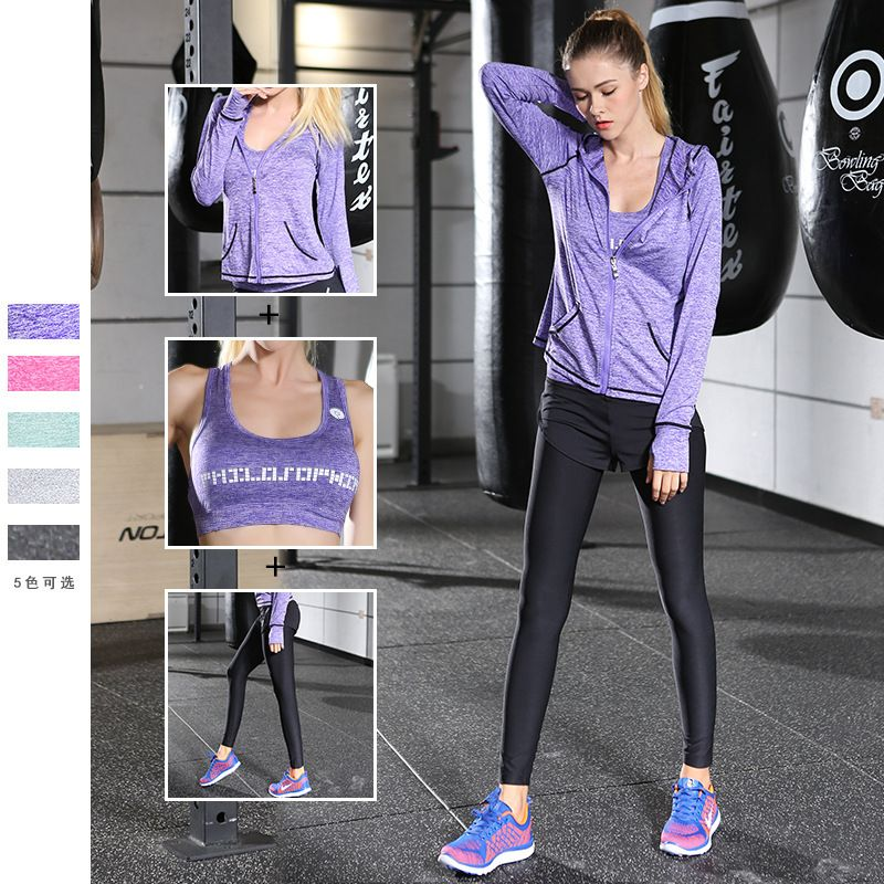 Women's Yoga sets autumn sports suit three-piece yoga jogging higher elastic clothes Running Fitness Clothes Workout Tracksuit