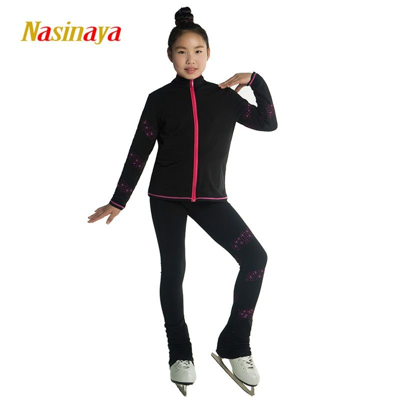 Costume Customized Ice Skating Figure Skating Suit Jacket And Pant Skater Warm Fleece Adult Child Girl Winding Spiral Rhinestone