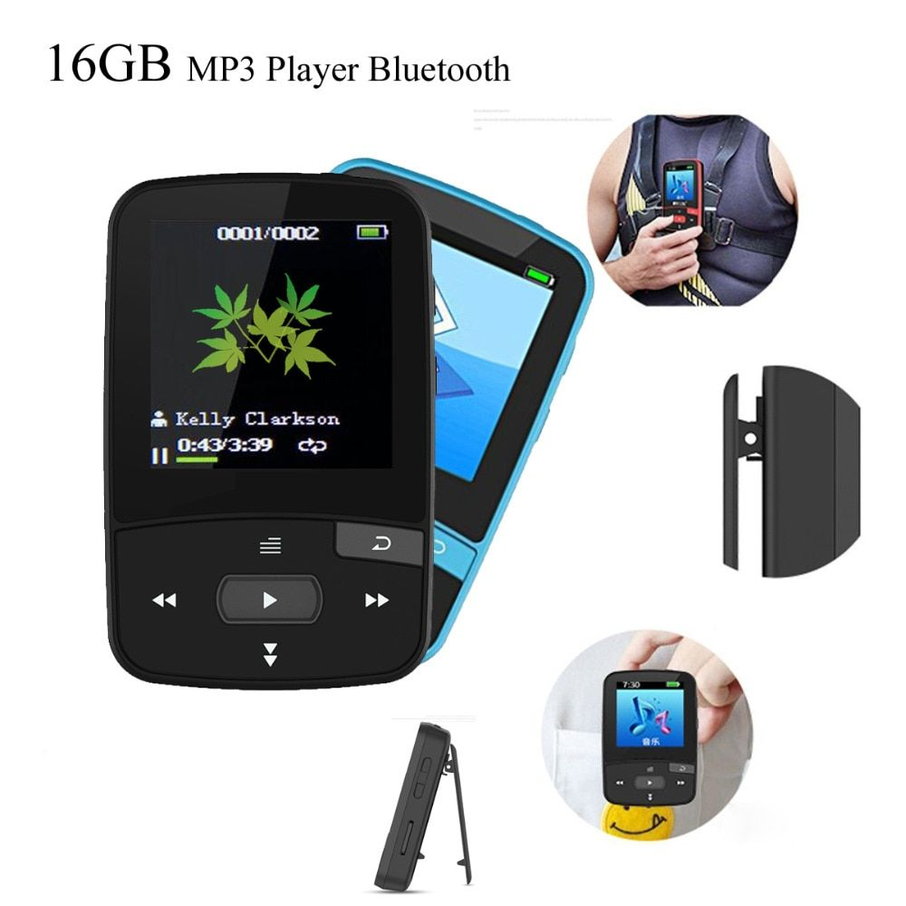 Original MP3 Player Bluetooth 16GB Music Player with Pedo Meter FM Radio Clock Voice Recorder E-Book Function Chrismas gift