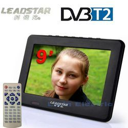 LEADSTAR  9 inch Digital TV Analog Television USB TF Card MP5 Player HD Televisions AV Input Portable TV Car TV 12V Car Charger
