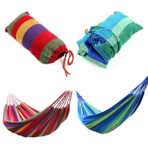 Portable Hammock Outdoor Hammock Garden Sports Home Travel <font><b>Camping</b></font> Swing Canvas Stripe Hang Bed Hammock Red, Blue 190 x 80cm