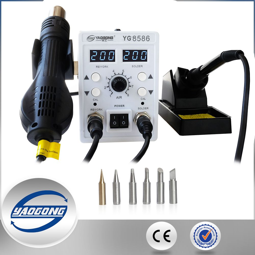 YAOGONG 8586 rework station Double digital 2 In 1 smd rework soldering station hot air mobile phone repair tools