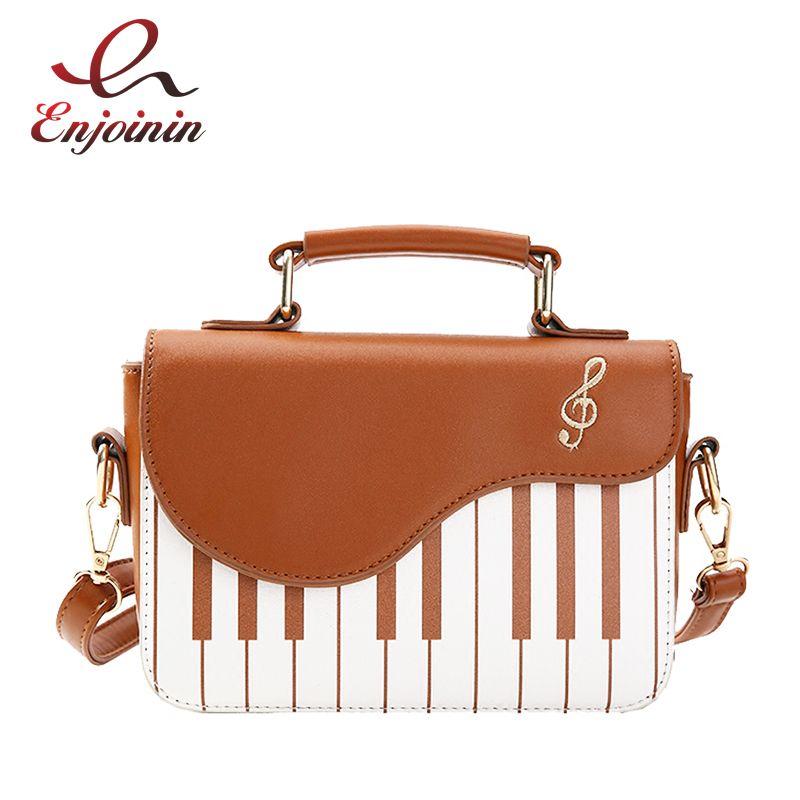 Cute Piano Pattern Fashion Pu Leather Casual Ladies Handbag Shoulder Bag <font><b>Crossbody</b></font> Messenger Bag Pouch Totes Women's Flap
