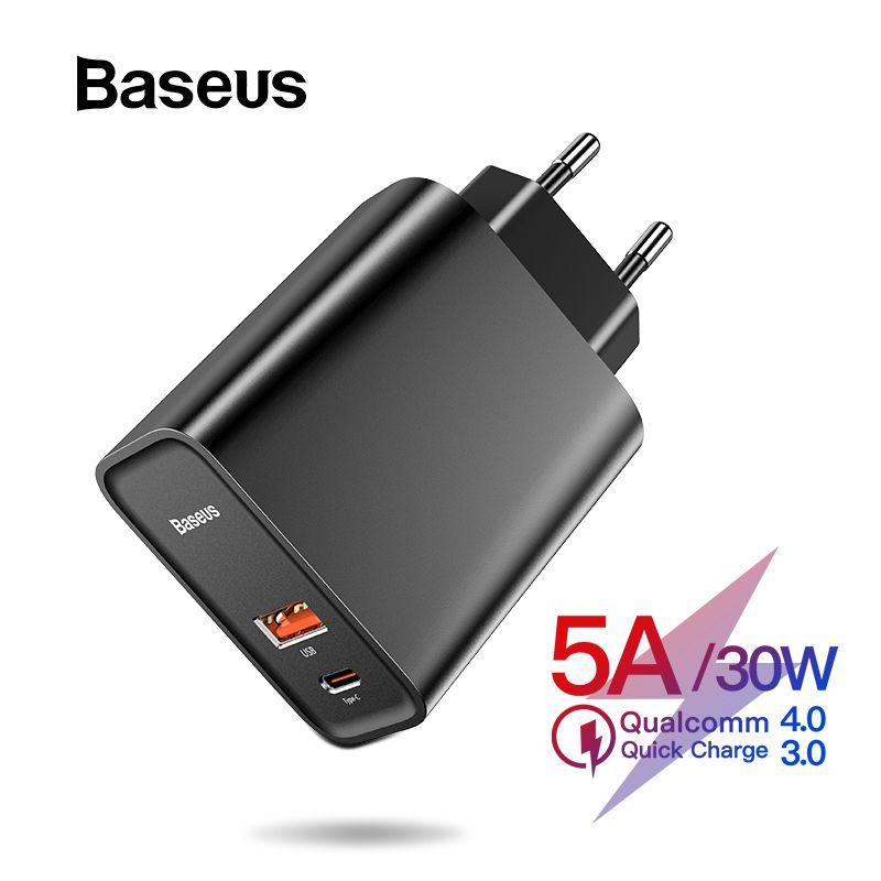 Chargeur rapide 4.0 3.0 USB Baseus pour Redmi Note 7 Pro 30 W PD 5A chargeur rapide de téléphone pour Huawei P30 iPhone X XR