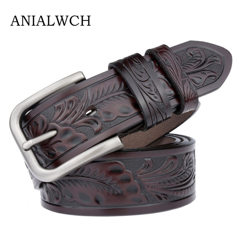New Fashion Wide Genuine Leather Belt Woman Vintage Sculpture Cow Skin Belts Women Top Quality Strap Female For Jeans Riem C207