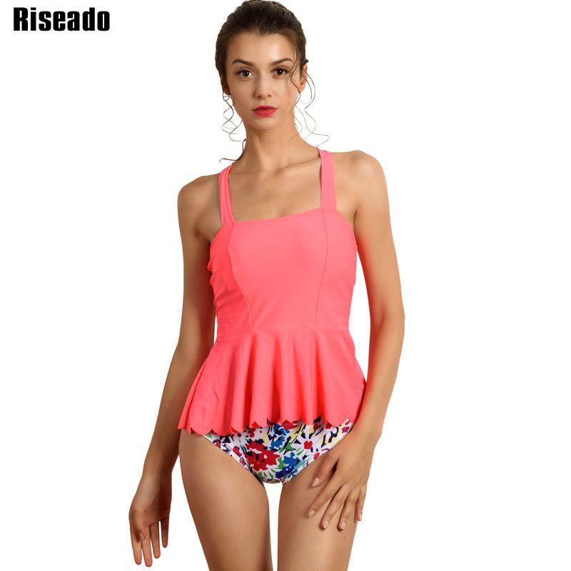Riseado Sexy Ruffle Swimwear Women 2017 Two-piece Swimsuit Female Cross Bandage Tankini Summer Beachwear Bathing Suits