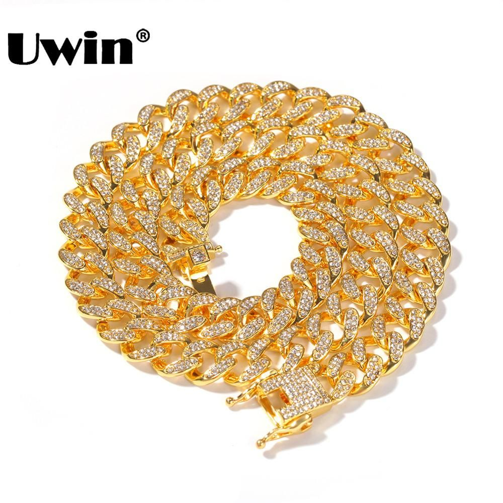 Uwin Miami Cuban Link Chain Necklace 13mm Full Bling Bling Iced Out Rhinestones Silver Gold Color Fashion Jewelry Necklace