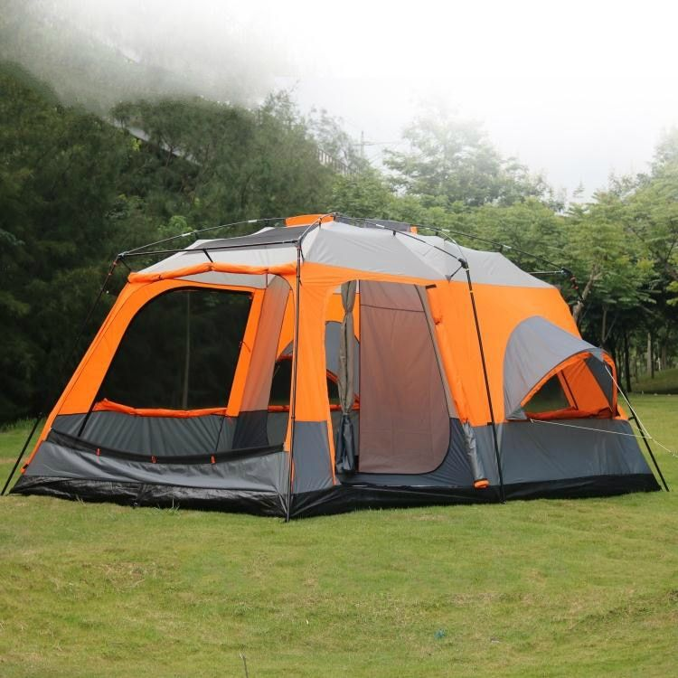 Ultralarge Tents High Quality Luxury 1 Hall 2 Bedrooms 6 8 10 12 Outdoor Camping Tent 215cm Height Waterproof Party Family Tent