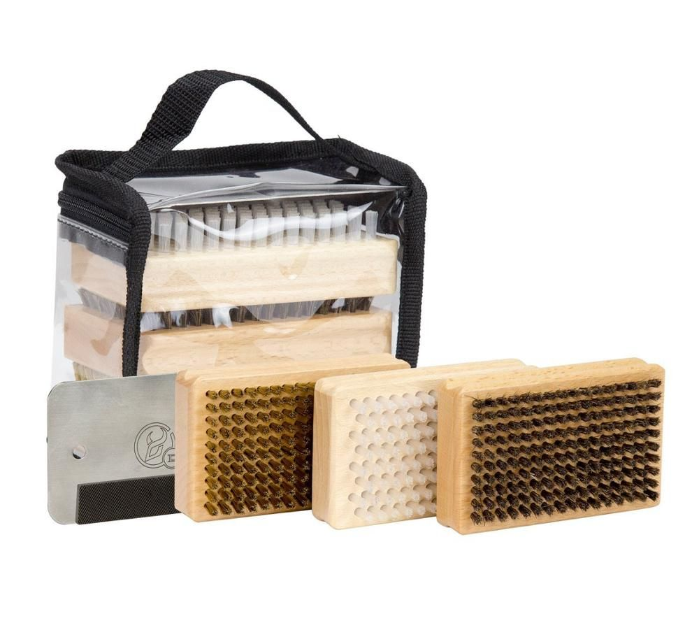 Ski Snowboard Wax Brush Kit -Plus includes Nylon / Brass / Horsehair Brush Metal Scraper and Edge File With a PVC bag