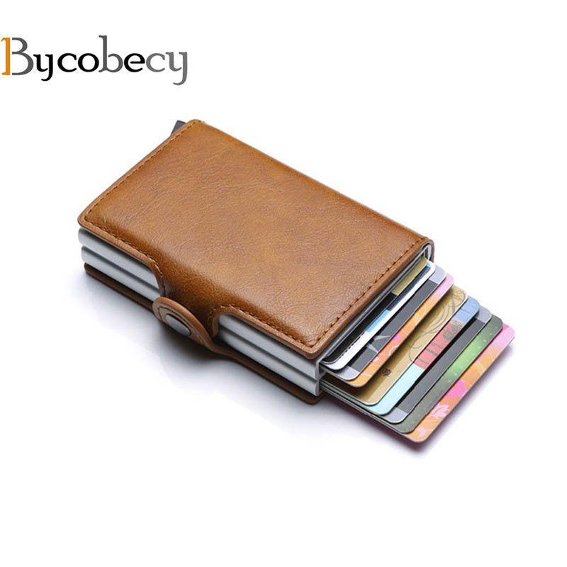 Bycobecy 2019 portefeuille porte-cartes RFID bloquant Double boîte en métal carte de crédit en Aluminium en cuir porte-cartes professionnelles porte-monnaie