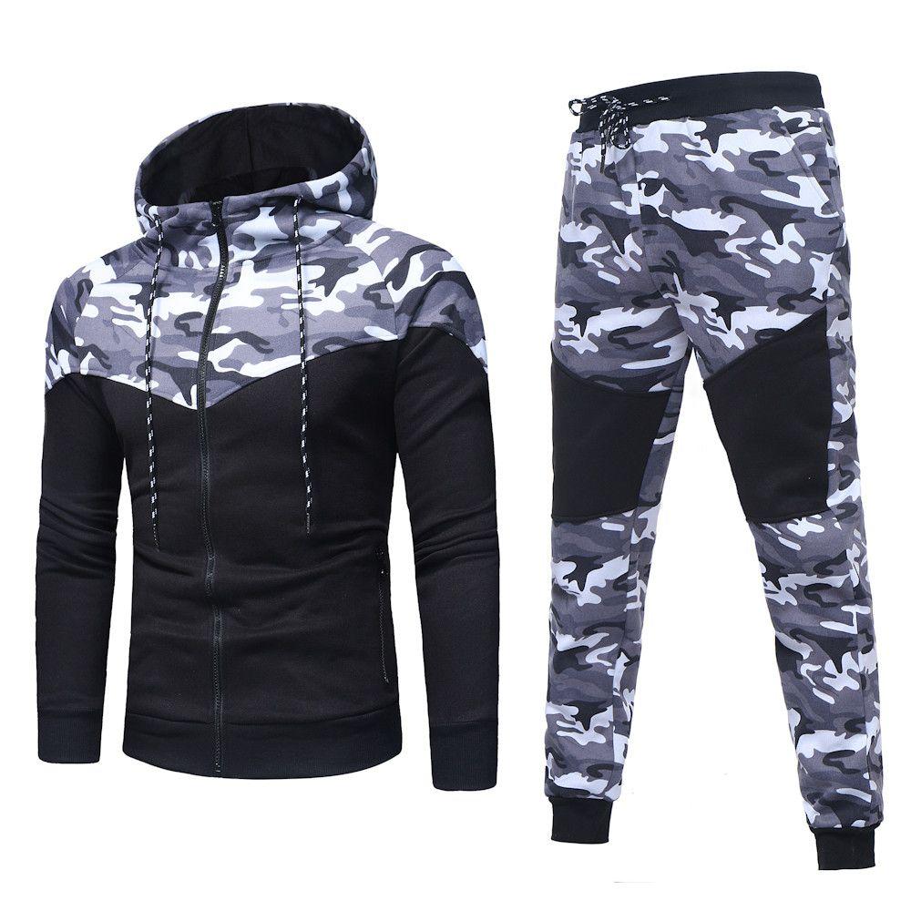 USPS Men's Autumn Winter Hooded Hoody Set Camouflage Sweatshirt Top Pants Sets Sports Suit Tracksuit set Skateboarding Hoodies
