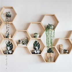 Baby Room Wooden Hexagonal Shelf Storage Wall Decorations Candy Organization Hanger Photography Props Shelves Storage Decor
