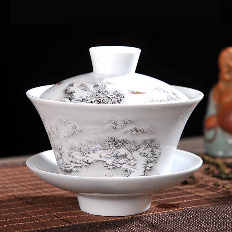 Chinois Thé Ensemble Gaiwan Bleu et blanc porcelaine Kung Fu Thé ensemble Soupière En Céramique Thé Bol Santé Tasse De Thé Tasse et Soucoupe Maître tasses