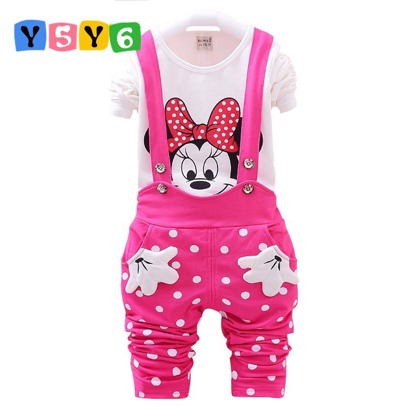 Retail 2018 New Baby Girls Clothing Sets Kids Cotton Cartoon Mickey Minnie Full Sleeve T Shirt+Suspenders Pants Suit 3 <font><b>colors</b></font>