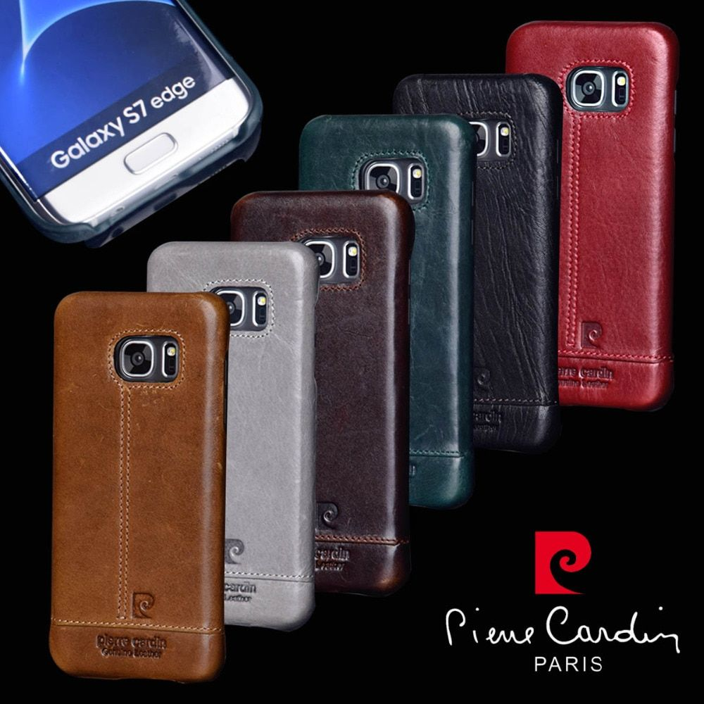 Pierre Cardin Genuine Leather PC Back Case Cover For Samsung Galaxy S7/S7 Edge Free Shipping