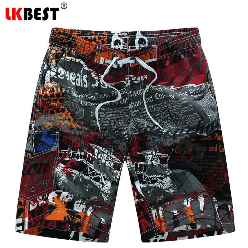Lkbest свободные Для Мужчин's Пляжные шорты высокого качества Для мужчин пляжные шорты быстросохнущие сетчатая подкладка Для мужчин купальник...