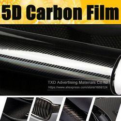 Super qualité Ultra Brillant 5D En Fiber De Carbone Vinyle Wrap 4D Texture Super Brillant De Carbone 5D Film Avec Taille: 10/20/30/40/50/60x152 cm