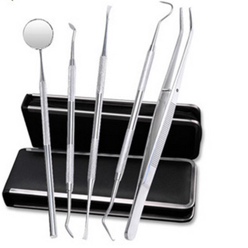 5Pcs/set Dental Tools Mirror Tweezers Oral Hygiene Explorer Probe Tooth Stains Remover Cleaning Hook Pick Dental Lab Equipment