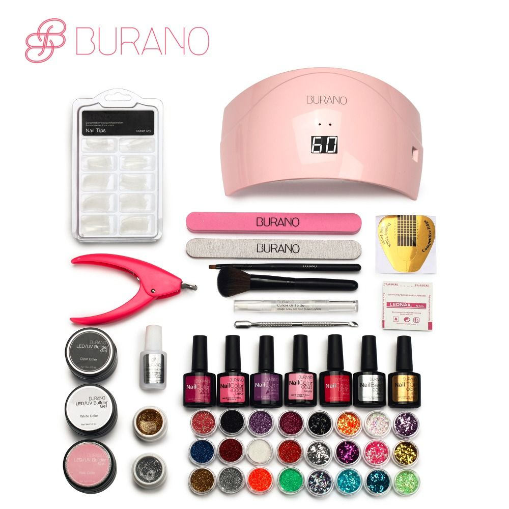 BURANO Nails 24w led lamp 5 color soak off led color gel nail art polish manicure set uv gel polish glitter kit nail tools 066