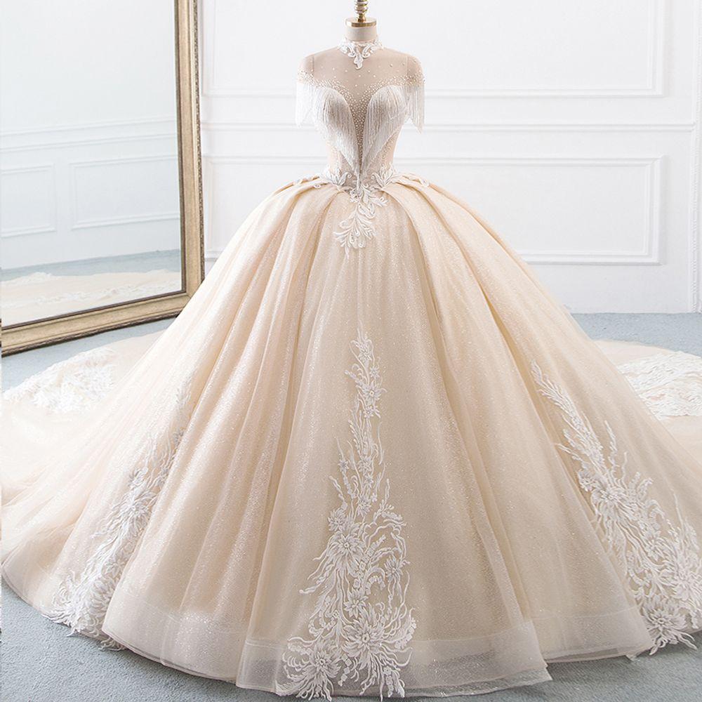 Neue Ankunft High Neck Ballkleid Hochzeit Kleider Prinzessin Tüll Hochzeitskleid Quaste Ärmeln Abiti da Sposa Sparkly Robe Mariee