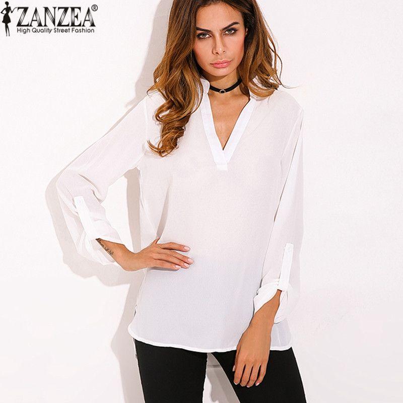 ZANZEA Women Vintage Blouse Shirt 2018 Ladies Sexy Blusas V Neck Long Sleeve Roll Up Casual Loose Chiffon Shirts Plus Size Tops