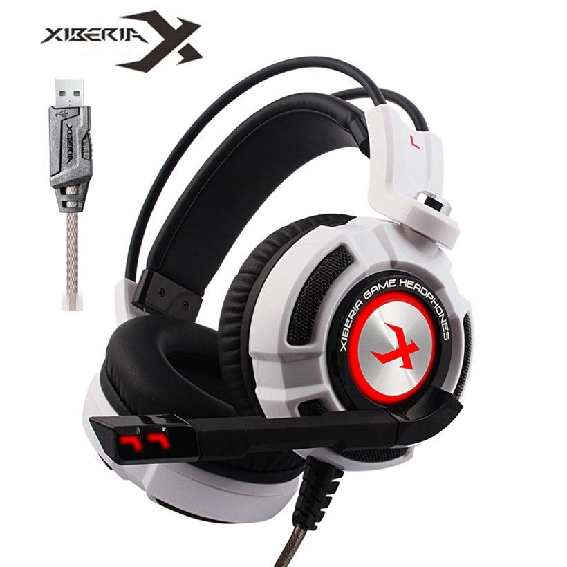 Xiberia K3 Over-Ear PC Gamer Game Headset USB 7.1 Virtual Surround Sound Stereo Bass Pro Gaming Headphone with Mic Vibration LED